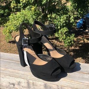 Black suede peep toe platform heels